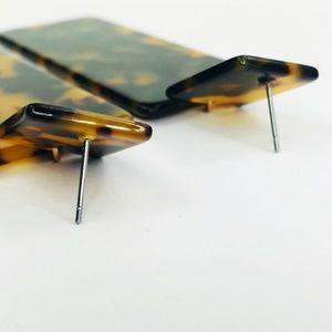 Closet Rehab Jewelry - Tortoise Rectangle Acrylic Drop Earrings